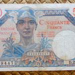 Francia 50 francos Territorios Ocupados -Tresor Francais 1947 (117x76mm) anverso