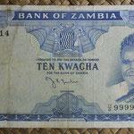 Zambia 10 kwachas 1969 (153x78mm) pk.12a anverso
