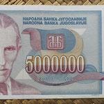 Yugoslavia 5.000.000 dinares1993 (164x76mm) pk.121 anverso