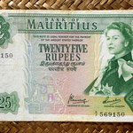 Isla Mauricio 25 rupias 1967 (152x90mm) pk.32b anverso