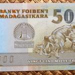 Madagascar 5000 ariary 1988 reverso