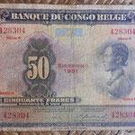 Congo Belga 50 francos 1951 (148x94mm) pk.16i anverso