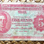 Malaya británica 5 centavos 1941 anverso