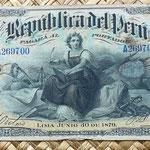 Perú 20 soles 1879 anverso