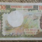 Gabón 10.000 francos 1978 (168x94mm) pk.5b anverso
