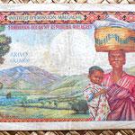 Madagascar 5000 francos 1966 reverso