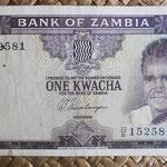Zambia 1 kwacha 1969 (130x68mm) pk.10b anverso