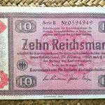 Alemania Tercer Reich 10 marcos 1933 resello guilloche 1934 anverso