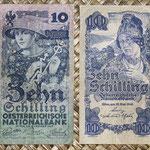 Austria 10 shillings 1927 vs. 1945 anversos