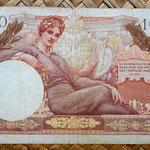 Francia 100 francos Territorios Ocupados -Tresor Francais 1947 reverso