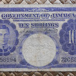 Jamaica 10 shillings 1960 (138x74mm) pk.46 anverso