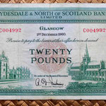 Escocia Clydesdale and North of Scotland Bank 20 libras 1960 anverso