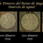 Yugoslavia serie dinares 1929-1935 marcas de agua