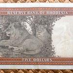 Rodesia 5 dólares 1979 reverso