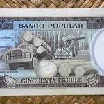 Guinea Ecuatorial 50 ekuele 1975 (155x64mm) reverso