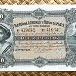 Uruguay 10 pesos 1883 Banco Londres y Rio de la Plata anverso