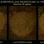 Gabón serie Francos años '70 Presidente O. Bongo marcas de agua