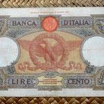 Italia 100 liras 1938 reverso