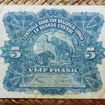 Congo belga Ruanda y Urundi 5 francos 1953 pk.21 reverso