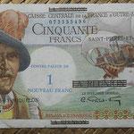 San Pedro y Miguelon 1 Nuevo franco NF sobreimpreso 50 francos Reunion (150x80mm) pk.30b anverso