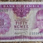 Zambia 50 ngwees 1969 (120x65mm) pk.9b anverso