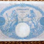 Francia 50 francos Bleu et Rose 1924 reverso