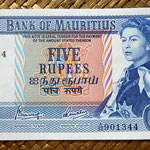 Isla Mauricio 5 rupias 1967 (140x78mm) pk.30c anverso