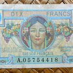 Francia 10 francos Territorios Ocupados -Tresor Francais 1947 (83x53mm) anverso