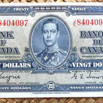 Canadá 20 dólares 1937 anverso