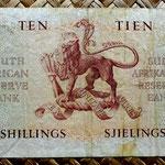 Sudáfrica 10 shillings 1954 reverso
