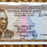 Kenia 5 shilingis 1968 (134x69mm) anverso