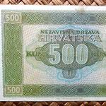 Croacia 500 kunas 1941 (158x84mm) reverso