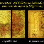 Paises Bajos -Princesitas en gulden de los años 40 s.XX marcas de agua