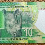 Sudáfrica 10 rand 2012 reverso