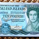 Islas Malvinas 10 pounds 1986 anverso