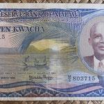 Malawi 10 kwachas 1986 (162x86mm) pk.21a anverso