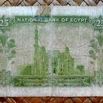 Egipto 25 piastras 1957 (130x70mm) pk.28 reverso