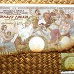 Yugoslavia 1000 dinares 1935 anverso y detalle marca de agua -Rey Pedro II de joven