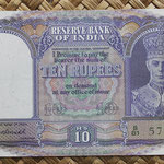 India 10 rupias 1943 (145x84mm) pk.24 anverso