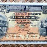 México, 5 pesos 1915 Banco Peninsular Mexicano -Mérida (152x70mm) anverso