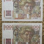Francia 100 francos 4-09-1652 vs 2-10-1952 anversos