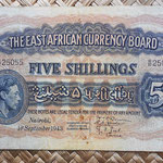 East Africa 5 shillings 1943 (153x95mm) pk.28b anverso