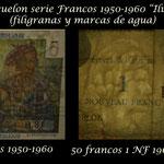 San Pedro y Miguelón serie francos 1950-1960 -Ilustres en Ultramar- filigranas