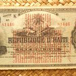 Haití 1 gourda 1914 resello vertical 1919 y 1913 anverso