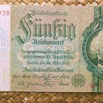 Alemania 50 marcos 1933 resello Gestapo Danzig (Geheime Staatspolizei Danzig) WWII anverso