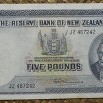 Nueva Zelanda 5 pounds 1956-67 (171x88mm) pk.160d anverso