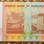 Zimbawe 1000 dollars 2007 reverso