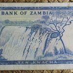Zambia 10 kwachas 1969 (153x78mm) pk.12a reverso
