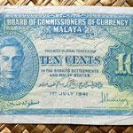 Malaya británica 10 centavos 1941 anverso