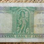 Ceilán 10 rupias 1954 reverso